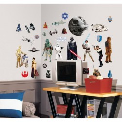 STAR WARS Stickers Muraux Enfant (4 Planches Repositionnables)