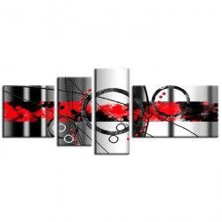 HARO Tableau Multi Panneaux déco abstrait 120x50 cm rouge
