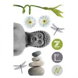 Stickers Bouddha zen 70x50 cm gris