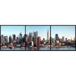 Set de 3 tableaux City vintage 3 20x20 cm marron