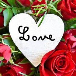 Toile imprimée Coeur love 30x30 cm rouge