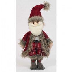 Personnage de Noël Pere Noël Rouge et gris 38 cm