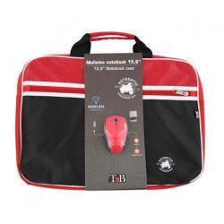 T`NB Mallette PC + souris optique sans fil Authentic - 15,6`` - Rouge et Noir