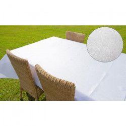 SOLEIL D`OCRE Nappe rectangle BELLA - 140x250cm - Polyester Blanc