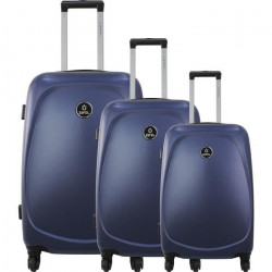 ZIFEL Set de 3 Valises Rigide ABS 4 Roues 50-60-70cm PORTUGAL Bleu Marine