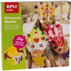 APLI Boîte 3 Masques de Princesse a décorer + Pieces de Mousse + Pompons Brillants