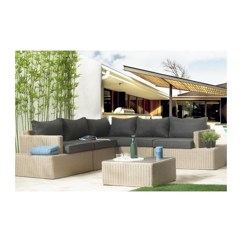 miami salon de jardin 4 places en r sine tress e. Black Bedroom Furniture Sets. Home Design Ideas
