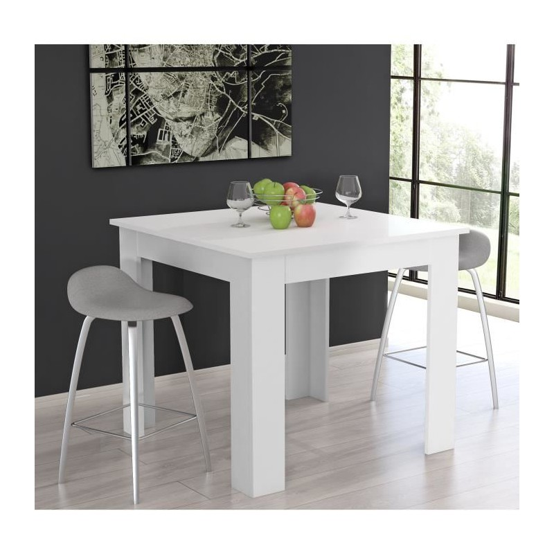 Finlandek table de bar tietti 110x110x95 cm blanc mat for Table blanc mat
