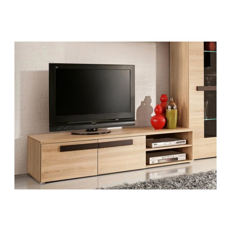 finlandek meuble tv nuori 159cm d cor chene clair et weng. Black Bedroom Furniture Sets. Home Design Ideas