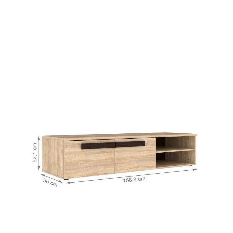 Finlandek meuble tv nuori 159cm d cor chene clair et weng for Meuble tv finlandek