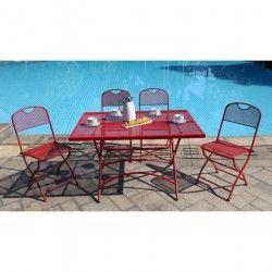 FINLANDEK Ensemble table de jardin 120 + 4 chaises rouge - HIENO