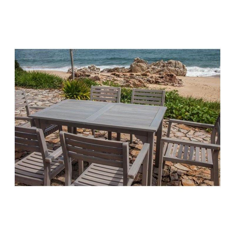 Finlandek ensemble table de jardin rectangulaire 6 fauteuils en acac - Ensemble table de jardin ...