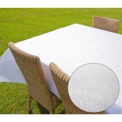 SOLEIL D`OCRE Nappe carré BELLA - 180x180cm - Polyester Blanc