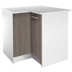 START Meuble de cuisine bas d`angle avec plan de travail L 88 x P 88 cm - Blanc et décor chene taupe