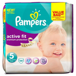 PAMPERS Active Fit Taille 5 Junior - De 11 a 25 kg - 38 couches