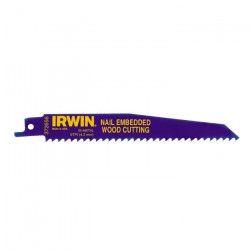 IRWIN Lot de 5 lames de scie sabre - Pour bois clouté - 956R - 6TPI - 225 mm