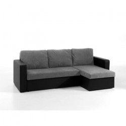 ECHO Canapé d`angle réversible convertible 4 places - Tissu microfibre gris et simili noir - Contemporain - L 225