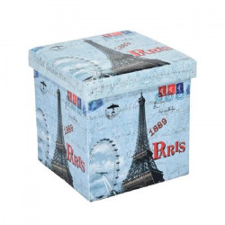 GAVIN Pouf coffre de rangement - Imprimé Tour Eiffel - 38x38x38 cm