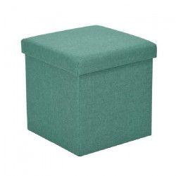 GAVIN Pouf coffre de rangement - Tissu vert - 38x38x38 cm