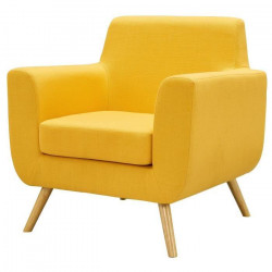 AXELL Fauteuil - Tissu polyester jaune - Scandinave - L 80 x P 70 cm