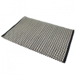 ZIG ZAG Tapis 100% coton 60x90 cm noir et beige
