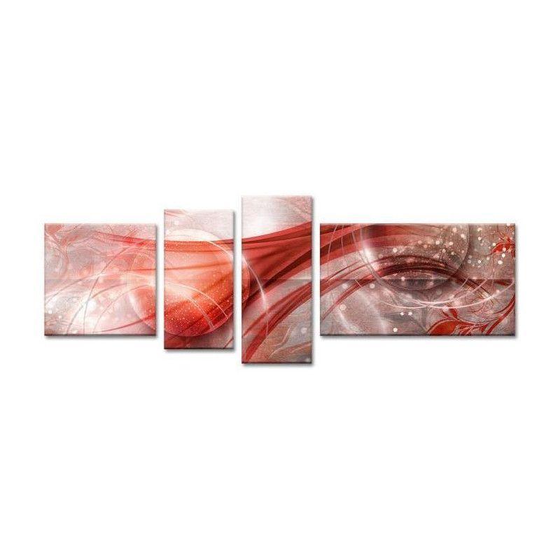Cosmos tableau multi panneaux 160x60 cm rouge abstrait - Tableau multi panneaux ...