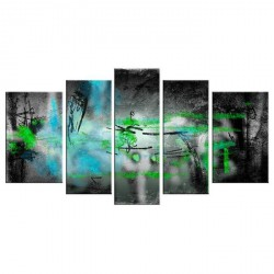 FINLANDEK Tableau multi panneau Abstrait Nivala 150x80 cm vert