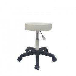 ERRAZA Tabouret sur roulettes pivotant et réglable - Simili blanc - Contemporain - L 49 x P 32.5 cm