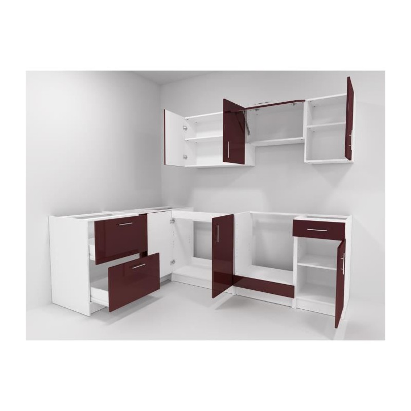 city cuisine d 39 angle complete 2m80 bordeaux laqu haute brillance. Black Bedroom Furniture Sets. Home Design Ideas