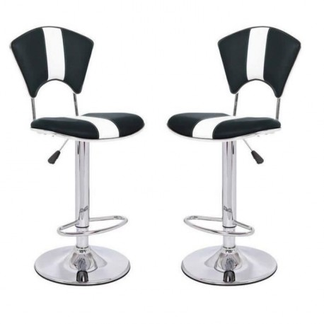 vip lot de 2 chaises hautes de bar noire et blanches. Black Bedroom Furniture Sets. Home Design Ideas