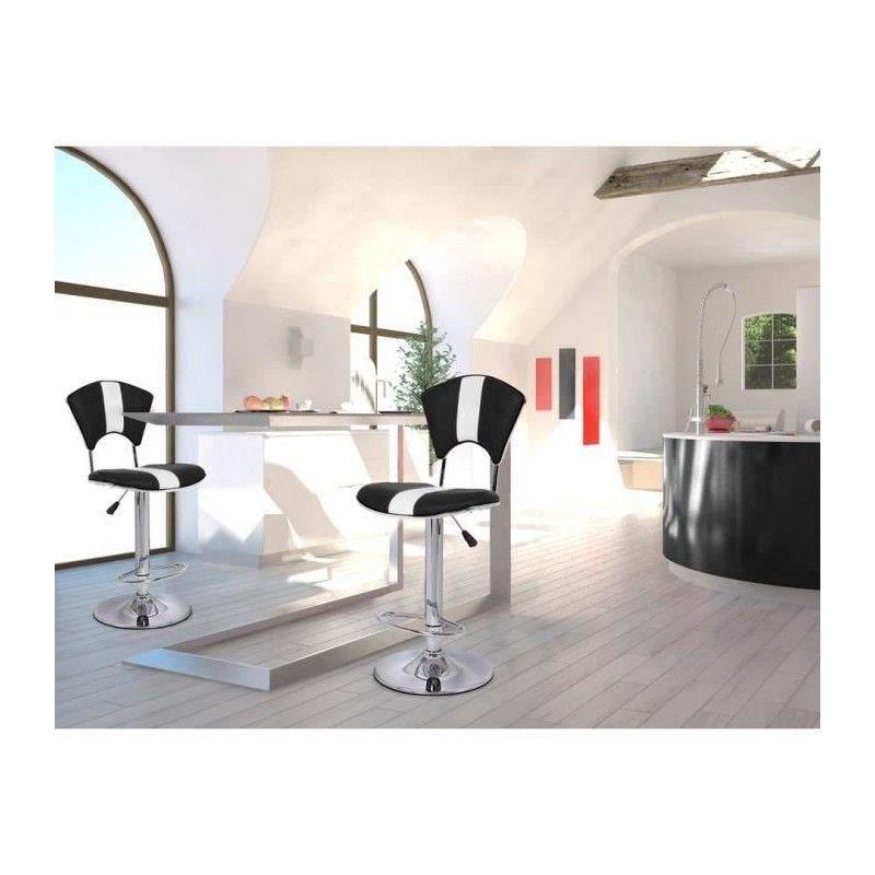 vip lot de 2 chaises hautes de bar noire et blanches. Black Bedroom Furniture Sets. Home Design Ideas