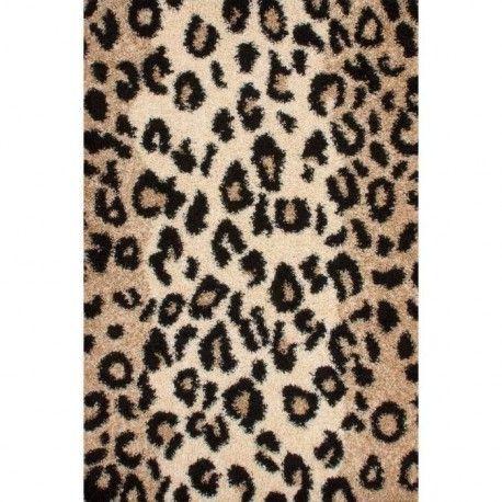NAZAR Tapis shaggy Joy 113 120x170 cm léopard beige, marron et noir