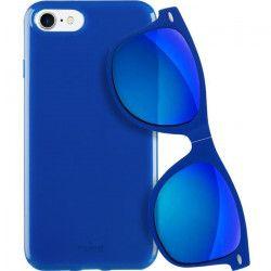 PURO Coque semi-rigide avec lunettes de soleil - Pour iPhone 7 - Bleu