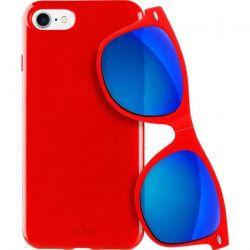 PURO Coque semi rigide avec lunette de soleil - Pour iPhone 7 - Rouge