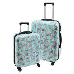 SAVEBAG Set de 2 valises rigides 4 roues Serrure TSA - FLAMANTS ROSES