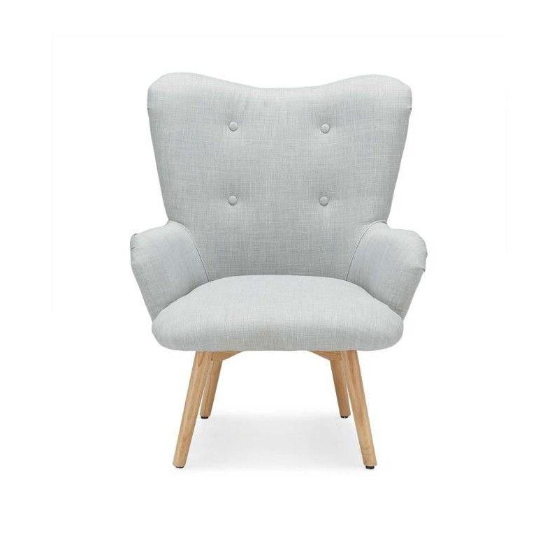iris fauteuil nordique en tissu effet lin gris. Black Bedroom Furniture Sets. Home Design Ideas