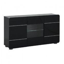 BUMP Bahut contemporain - Laqué noir brillant - L150 cm