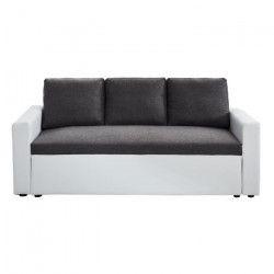 ASPEN Canapé droit fixe 3 places - Tissu et simili blanc et gris chiné - Contemporain - L 191 x P 82 cm