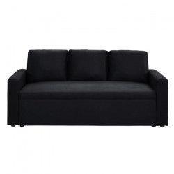 ASPEN Canapé droit fixe 3 places - Tissu noir - Contemporain - L 191 x P 82 cm