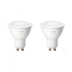 PHILIPS Hue Pack de 2 ampoules LED connectées White Ambiance GU10 5 W équivalent a 25 W