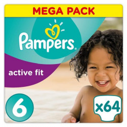 Pampers Premium Active Fit Taille 6 15+ kg - 64 Couches