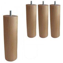 SEDAC 4 Pieds Cylindriques Verni naturel H 20cm