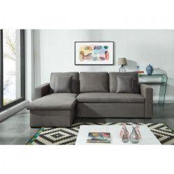 ASPEN Canapé d`angle réversible convertible 3 places + Coffre de rangement - Tissu gris - Contemporain - L 223 x