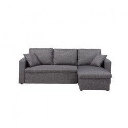 ASPEN Canapé d`angle réversible convertible 3 places + Coffre de rangement - Tissu gris chiné - Contemporain - L