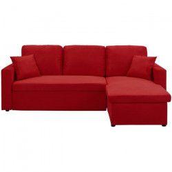 ASPEN Canapé d`angle réversible convertible 3 places - Tissu rouge - Classique - L 220 x P 150 cm