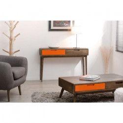 LUCIEN Console Vintage - Bois - 2 tiroirs orange - L x 110