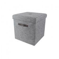 Coffre Pouf pliable en tissu 38x38x38 cm - Gris