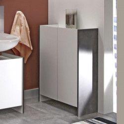 PURE Meuble bas de salle de bain L 60cm - Décor béton et blanc