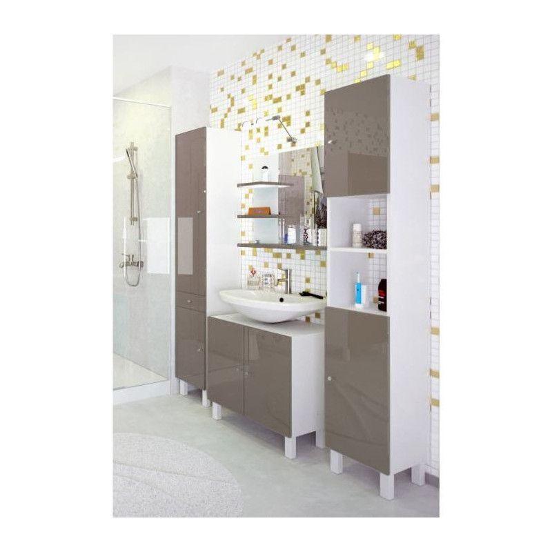corail meuble sous lavabo l 60 cm taupe brillant. Black Bedroom Furniture Sets. Home Design Ideas