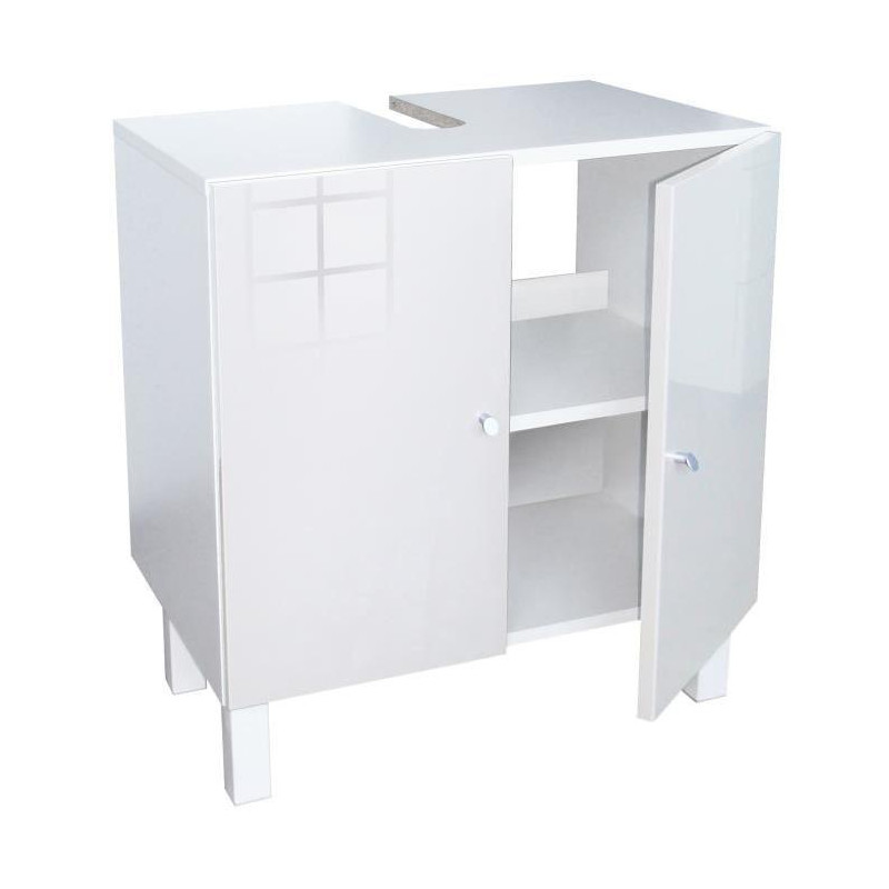 corail meuble sous lavabo l 60 cm blanc laqu. Black Bedroom Furniture Sets. Home Design Ideas